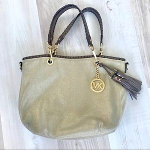 Michael Kors Gold Canvas Tote